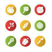 Vegetables flat design long shadow glyph icons