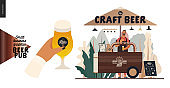 Brewery, craft beer pub - small business graphics - street vending cart