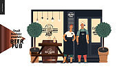 Brewery, craft beer pub - small business graphics - a bar facade and owners