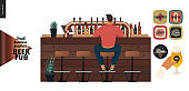 Brewery, craft beer pub - small business graphics - a male visitor at the bar counter