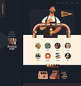 Brewery, craft beer pub - small business illustrations -landing page design template