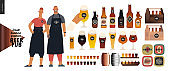 Brewery, craft beer pub - small business graphics - pub owners and brewery components