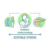 Pediatric endocrinology concept icon