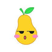 Pear cute kawaii vector character