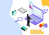 Business Analytics concept. Business finance and industry. Isometric projection. Vector illustration. EPS 10