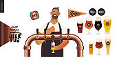 Brewery, craft beer pub - small business graphics - a bartender