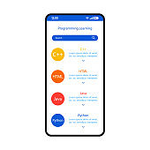 Programming learning smartphone interface vector template