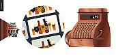 Brewery, craft beer pub - small business graphics - gift cards icon and vintage cash register