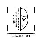 Face scanning procedure linear icon
