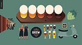 Brewery, craft beer pub - small business graphics - bar elements