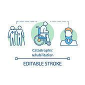 Catastrophic rehabilitation concept icon