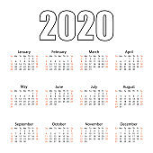 Calendar 2020. Tear-off calendar. Personal organizer. White background. Vector illustration