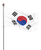 South Korea flag blowing in the wind. Background texture. 3d rendering, waving flag. Isolated on white. Illustration.