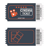 Movie tickets. Movie ticket from the front and back. Cartoon illustration of a movie ticket.