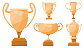 Set of gold, silver and bronze trophy cups.