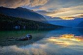 Dramatic sunset above the Bohinj Lake, Slovenia.