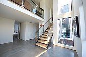 Staircase And Hallway In Stylish And Contemporary Empty Home