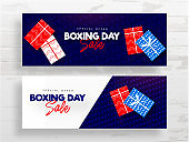 Boxing Day Sale header or banner design set with top view of gift boxes on white and blue dots background.