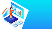 Analyst or developer work desk, business woman analysis the data with business equipment for Financial growth or data analysis concept based isometric design.