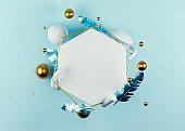 3D Rendered illustration with flying geometric shapes, leaves, bubble and frame.