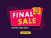 Final Sale poster or banner design with 70% discount offer on purple dotted effect background for Advertising concept.