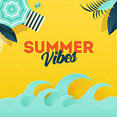 Summer Vibes background with illustration of umbrella, sunbed and paper cut waves.