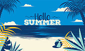 Hello Summer background with beautiful beach view. Can be used as banner or poster design.