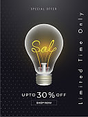 Creative limited time sale template or flyer design with text sale inside a light bulb.
