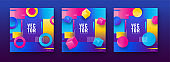 Set of colorful abstract design template with geometric shape like as cubes, circle and dotted element.