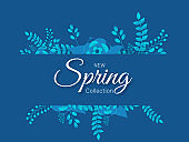 Spring Collection banner or poster design decorated with paper flowers and leaves on blue background.