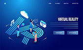 User using social media & analytics tools of camera, cloud and music notes on creative blue background for Virtual Reality website poster or landing page design.