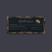 Gift Certificate or coupon, voucher layout decorated with motifs.