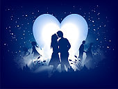 Love greeting card design, romantic silhouette of loving couple on night view background. Can be used as Valentine's Day banner design.