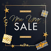 Advertising poster or template design with top view of gift boxes and golden stars for New Year Sale.
