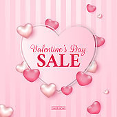 Valentine's Day Sale Text in Heart Shape Decorated with Pink Glossy Hearts on Striped Background for Advertising Concept.