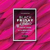 Creative abstract pink leaves decorated poster or banner design, Special Offer Get 60% Discount On All Brands for Black Friday Sale concept.