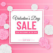 Valentine's Day Sale Poster Design with 50% Discount Offer and Paper Cut Flowers Decorated on Pink Strip Background.