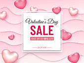 Valentine's Day Sale Banner or Poster Design with 50% Discount Offer and Glossy Hearts Decorated on Pink Paper Cut Waves Background.
