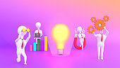 3D render of business people working to launch a light bulb with business elements such as laptop, binoculars and magnet on purple background.