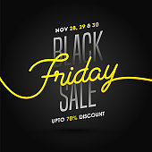 Black Friday Sale poster or template design with 70% discount offer on black background.