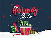 Advertising banner or poster design with 70% discount offer and gift boxes for Holiday Sale.