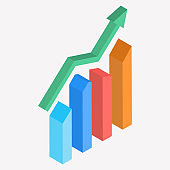 3D isometric illustration of growth graph element.