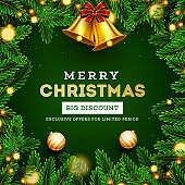 Big discount offer for Merry Christmas Sale poster or template design with golden jingle bell, pine leaves, baubles and lighting garlands decorated on green background.