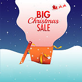 Advertising banner or poster design with surprise gift box of Big Christmas Sale on snowfall background.