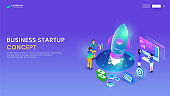 Business startup concept, isometric smartphone with application, rocket and business people meeting working on purple background. Web template or banner design.