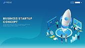 Creative Business Startup banner or landing page design with illustration of Business people working on a project on blue background.