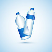 Illustration of plastic bottles on glossy white background.