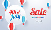 Advertising banner or poster design decorated with paper cut hot air balloons and 40% discount offer for 4th Of July, Independence Day Sale.