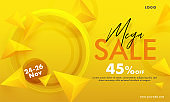 Mega Sale Banner Design with 45% Discount Offer and 3D Geometric Elements Decorated on Yellow Background.