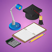3D render of Open Book with Graduation Cap, Table Lamp, Calculator and Pencil on purple background.